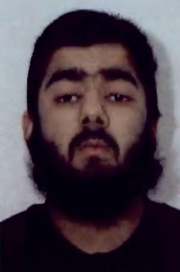 Deze foto die door de politie van de West-Midlands werd uitgedeeld is van de doodgeschoten dader,  de 28-jarige Usman Khan.