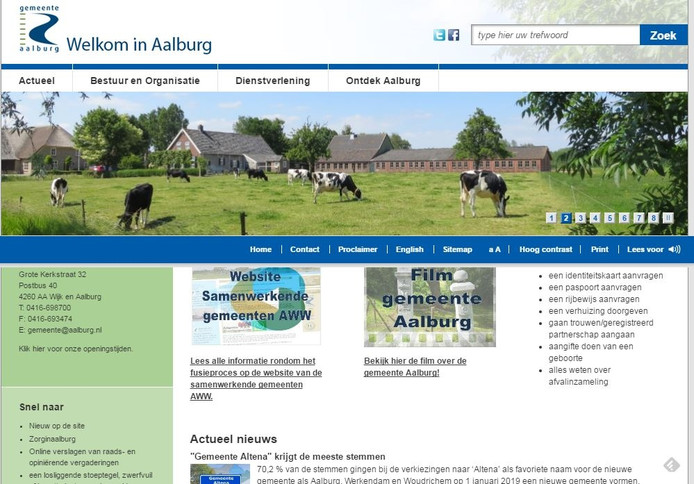 De oude versie van de website.
