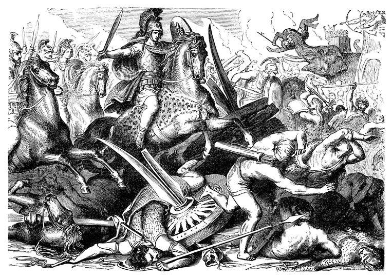 Alexander op een afbeelding van een van zijn veldtochten.