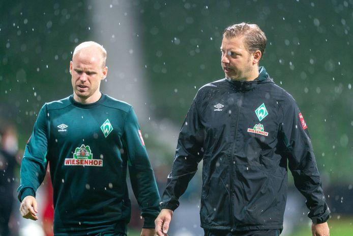 Davy Klaassen en trainer Florian Kohfeldt van Werder Bremen.