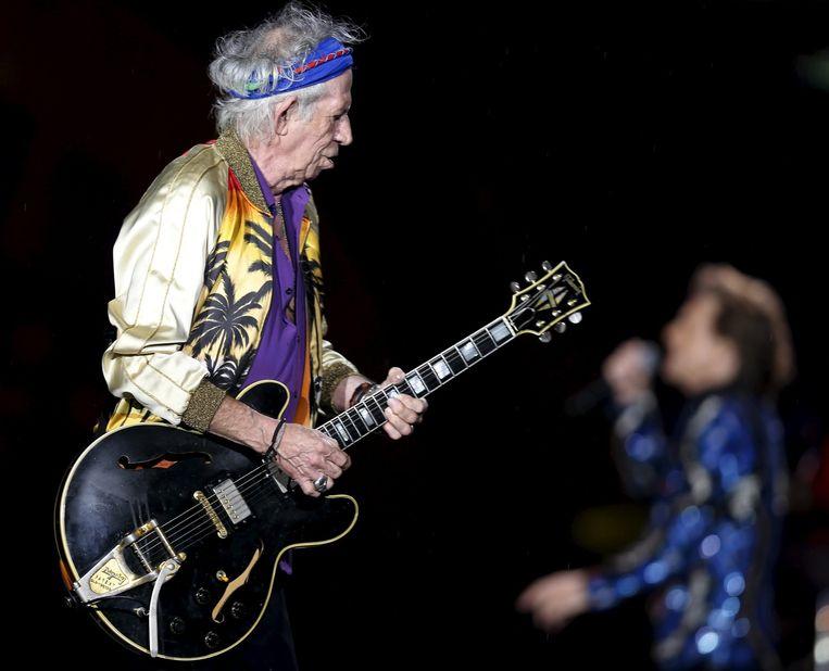 Keith Richards tijdens een concert van The Rolling Stones in Brazilië. Beeld reuters
