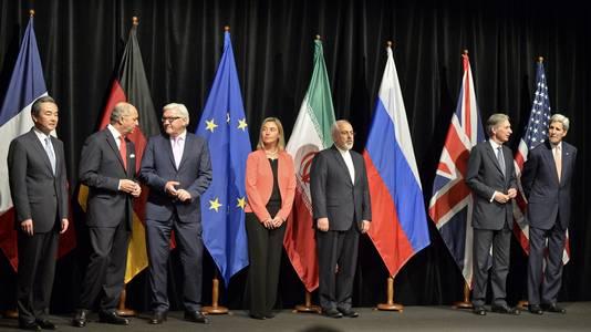 De ministers van Buitenlandse zaken van de deelnemende staten aan de Iran deal.
