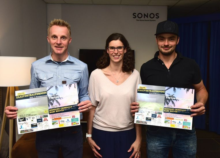 Steven Billens, Mieke De Mooter en Jurgen Lagrange zetten zich samen met andere vrijwilligers in om deze benefiet te doen slagen