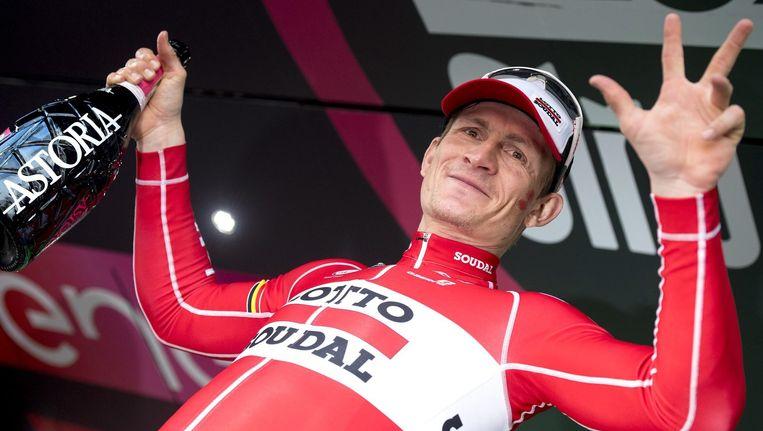 André Greipel na een etappeoverwinning in de Giro Beeld anp