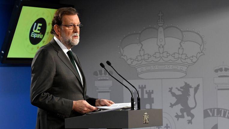 De Spaanse premier Mariano Rajoy, vandaag tijdens de EU-top in Brussel.