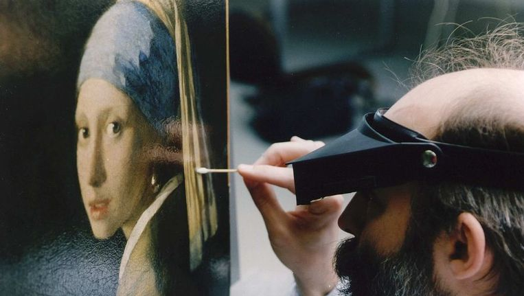 De restauratie van Het meisje met de parel. Beeld ANP
