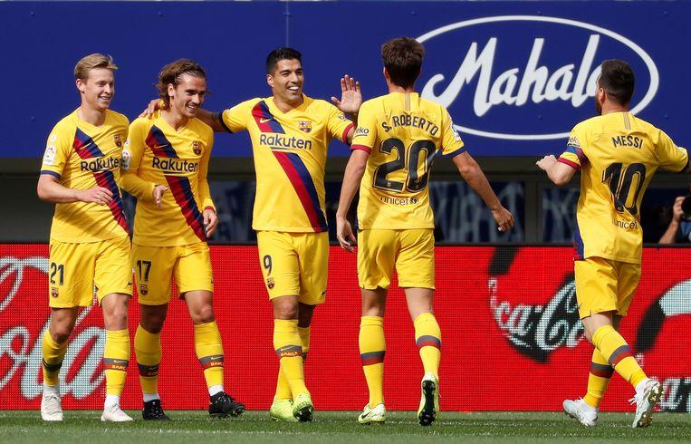 Griezmann, tweede van links, was goed voor een goal en assist in Eibar.