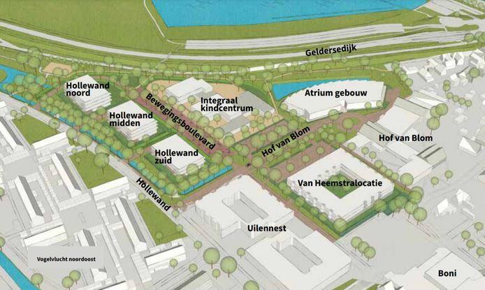 De voorbeelduitwerking van het stedebouwkundig plan voor het voormalige ijsbaanterrein en de huidige locatie van de Van Heemstraschool.