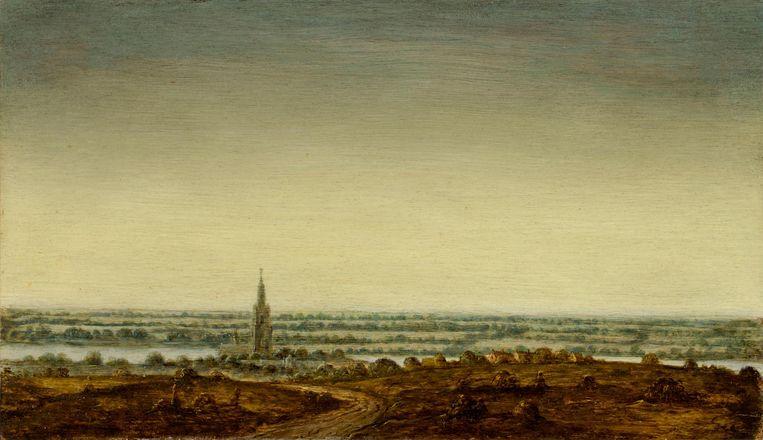 Panoramisch Landschap met een Stad aan een Rivier, paneel, 17.2 x 29.8 cm, ca. 1625-30 Beeld privé-collectie