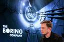 Elon Musk tijdens een conferentie van de Boring Company in Los Angeles