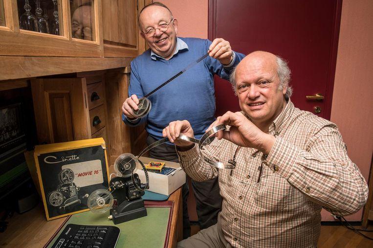 Willy Tillie en Luc Cleenewerck van Heemkring Aan de Schreve in het archief.