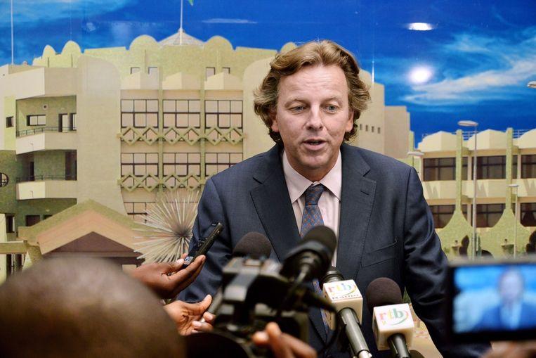 Bert Koenders geeft een persconferentie in Ouagadougou na een ontmoeting met de president van Burkina Faso. Beeld anp