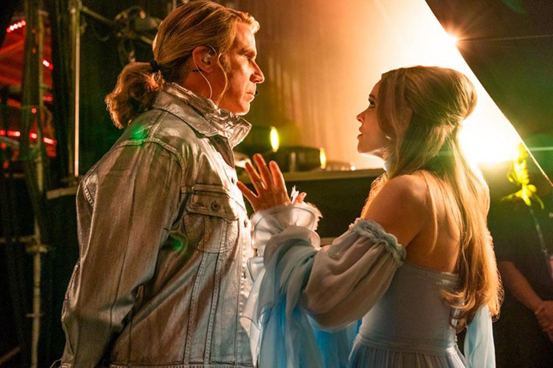 De IJslandse zangers Lars Erickssong en Sigrit Ericksdóttir (Will Ferrell en Rachel McAdams) dat als het duo Fire Saga meedoet aan het Songfestival 2020 in Edinburgh. Beeld Photo News