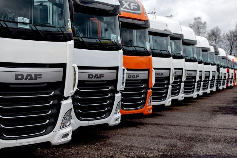 Vrachtwagens op het terrein van auto- en vrachtautofabrikant DAF Trucks in Eindhoven.  Beeld null