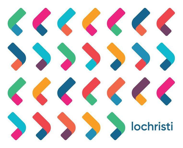 Het nieuwe logo van Lochristi - met kleurrijke varianten.