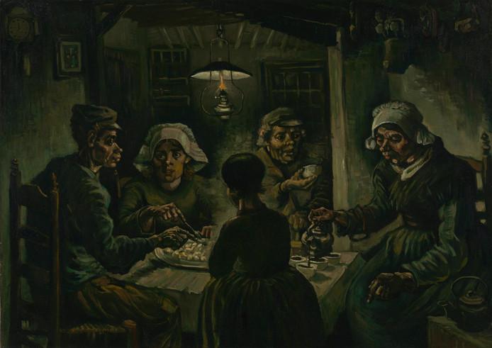 'De aardappeleters' van Vincent van Gogh, geschilderd in de tijd dat hij in Nunenen werkte.
