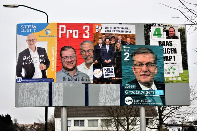 De vijf partijen in de gemeente Loon op Zand.