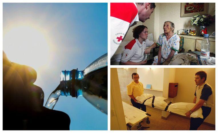 Volgens Franse media doen de temperaturen denken aan de hittegolf van augustus 2003, wat leidde tot een forse toename van het aantal overlijdens (foto rechtsonder). Medewerkers van het Rode Kruis gingen toen langs bij eenzame ouderen (foto rechtsboven).