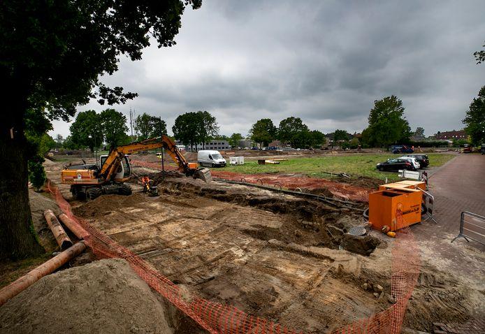 Werkzaamheden ter voorbereiding van de laatste fase van nieuwbouwwijk Park Luistruik in Nuenen.