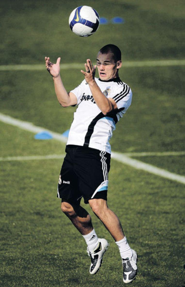 Wesley Sneijder: 'Ik ben twee maanden geblesseerd, maar het lijken wel twee jaar.' Foto EPA Beeld