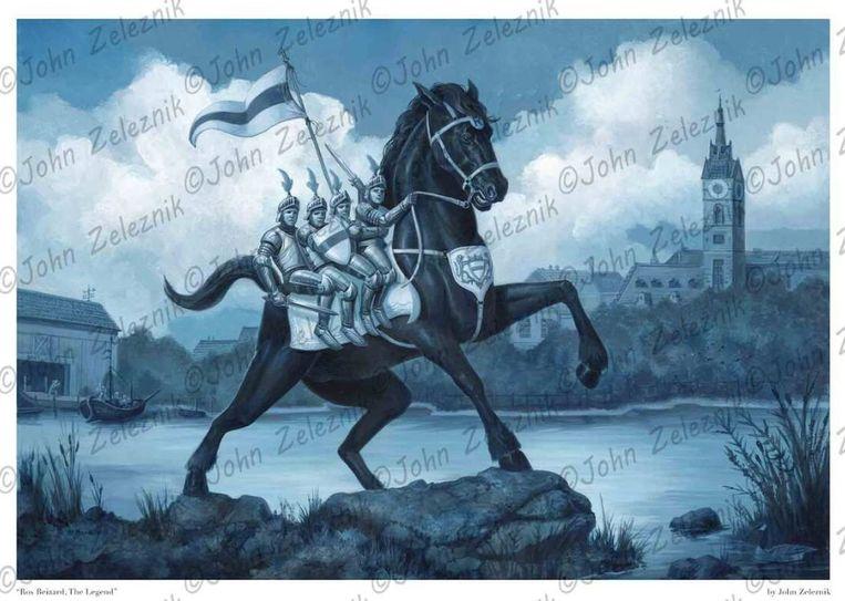 Het schilderij toont de vier Aymonbroers op de rug van een trots Ros Beiaard, aan de Dender en de oude binnenstad met het stadhuis. Ook een speciale hommage aan de originele Gilde der Vrije Pijnders, die oorspronkelijk instonden voor laden en lossen van schepen, is erin verwerkt.