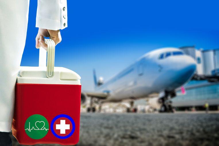 In Amerika maar ook binnen Europa worden organen vaak per vliegtuig getransporteerd.