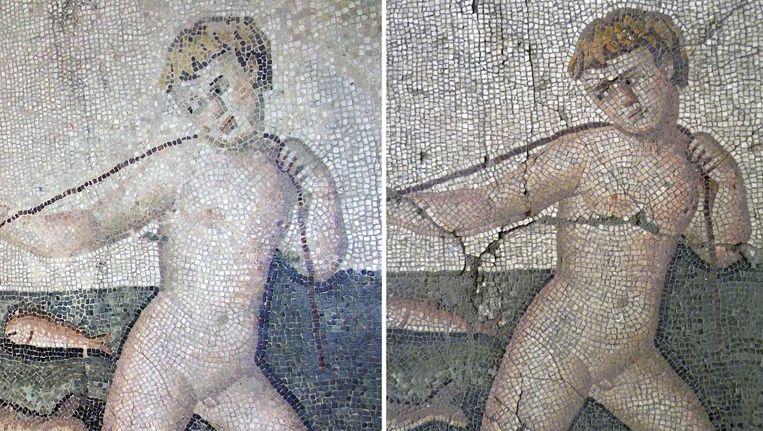 Detail van een mozaïek. Rechts voor de restauratie, links daarna. Beeld AFP