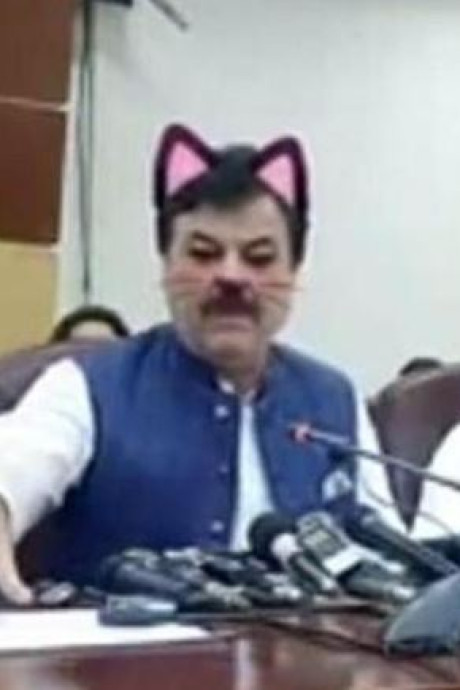 Au Pakistan, un homme politique coiffé d'oreilles de chat lors d'un Facebook live