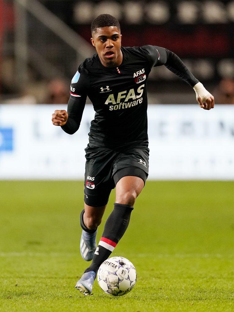 Myron Boadu (AZ) tijdens de wedstrijd tegen FC Twente op 15 februari. Beeld BSR Agency
