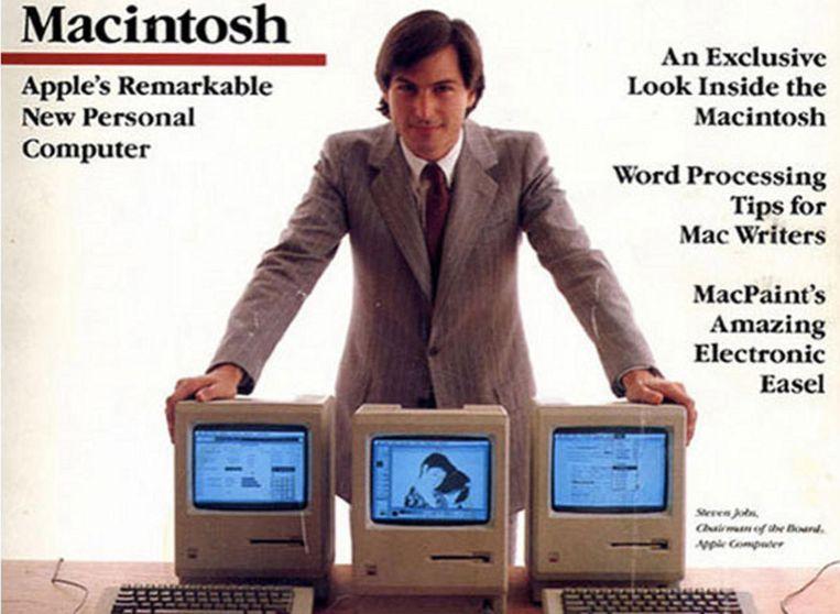 Een advertentie van Steve Jobs met de Apple Macintosh 128K uit 1984. Beeld Apple