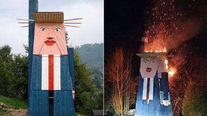 Vandalen steken Sloveens standbeeld van Trump in brand