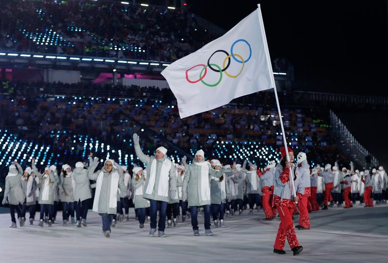 De openingsceremonie van de Spelen in Pyeongchang in 2018. Beeld AP