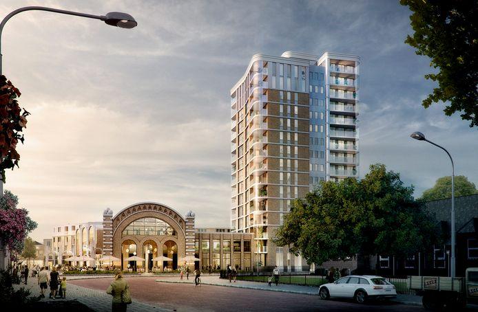 Het ontwerp voor de woontoren dat de voorkeur heeft van de meeste partijen in de Osse gemeenteraad.