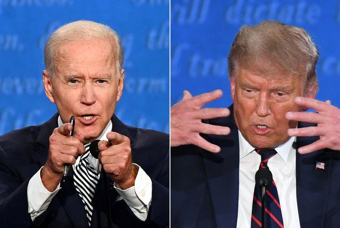 Joe Biden (L) en Donald Trump tijdens het eerste tv-debat.