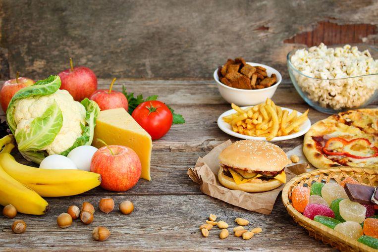 Links gezond eten, rechts ongezond (want bewerkt) eten.