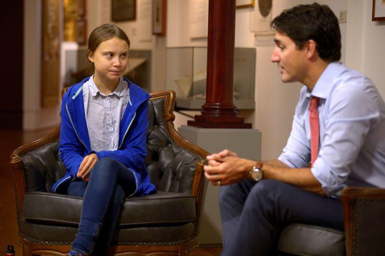 De Canadese premier Justin Trudeau en klimaatactiviste Greta Thunberg voor de klimaatstaking in Montreal.