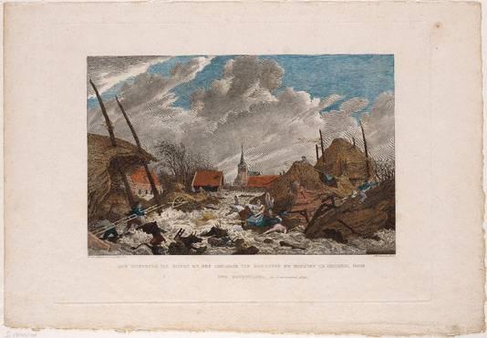 Rampliederen: de kleurenafbeelding is de overstroming van Erichem in Gelderland in 1809.