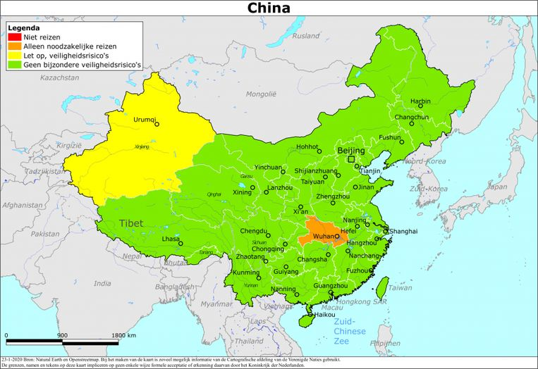 Het reisadvies voor China op 23 januari. Beeld Ministerie van Buitenlandse Zaken