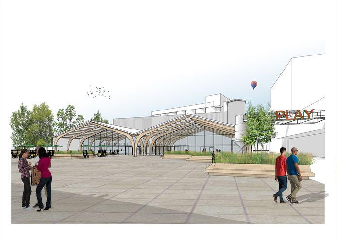 Vooraanzicht van de nieuwe Kaaihal op de Tramkade met de op de achtergrond de silo's. Er gaat definitief een streep door de plannen.