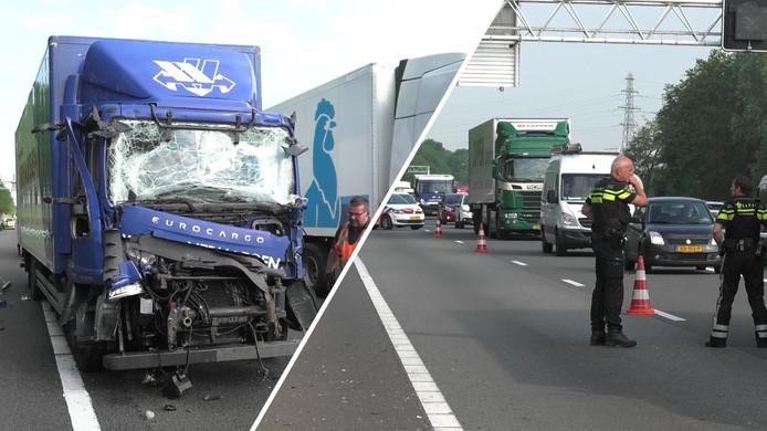 Het ongeluk op de A12, met links de vrachtwagen van het Belgische transportbedrijf Vervoer Verhaegen.
