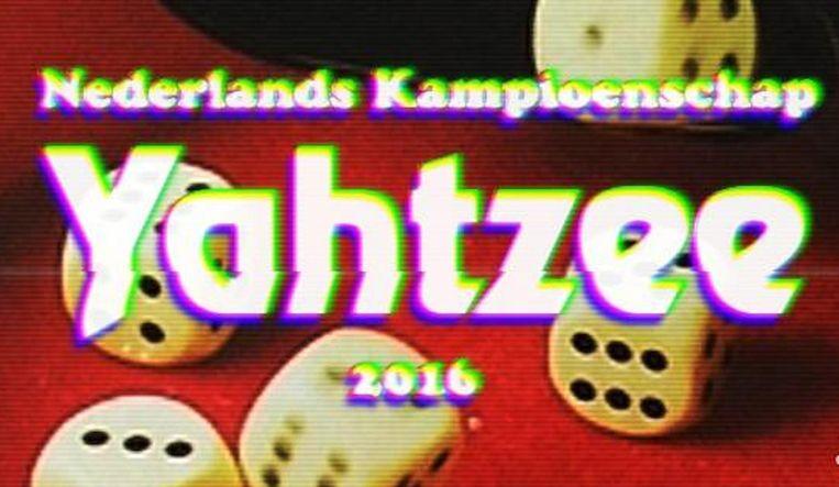 Een retro promoplaatje voor een jeugdsentimeteel kampioenschap: dat past. Beeld NK Yahtzee