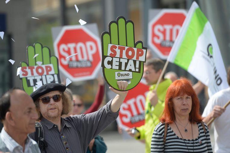 Protest tegen TTIP in Berlijn. Beeld null