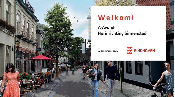 Sfeerbeeld van hoe Stratumseind in Eindhoven er na de herinrichting uit zou kunnen komen te zien. Dit is de voorpagina van een presentatie door ambtenaren van de gemeente Eindhoven aan de gemeenteraad.