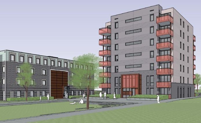 Een impressie van het appartementengebouw aan de Compagnieplaats in de Arnhemse wijk Saksen Weimar. Illustratie Braaksma & Roos