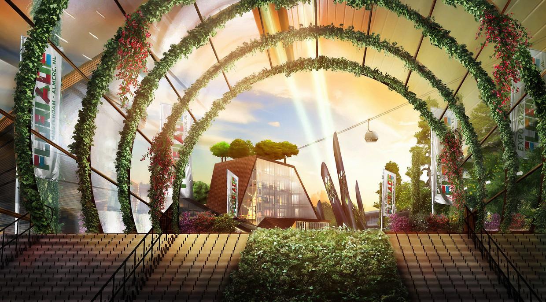 Artist impression toont hoe de entree van de Floriade er in 2022 bij zou moeten  liggen. Beeld -