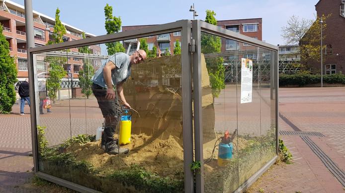Europees kampioen zandsculpturen Maxim Gazeman aan het werk in de kubus.