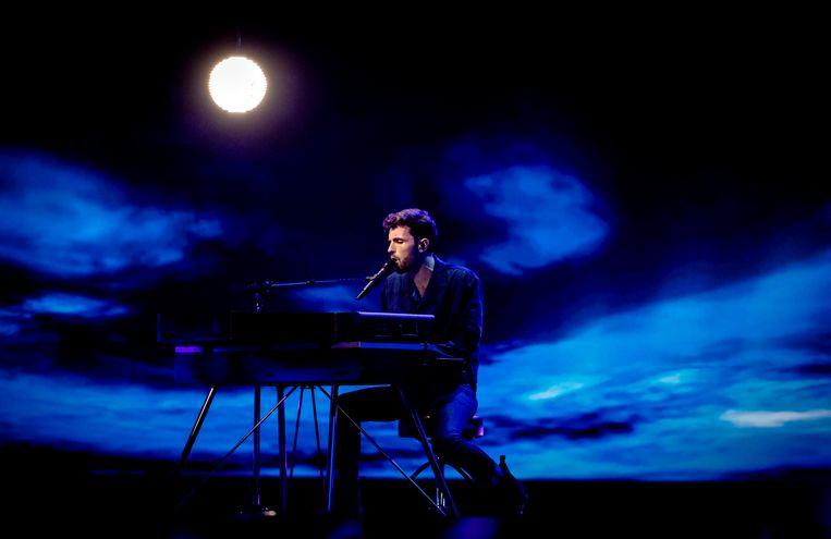 Duncan Laurence tijdens de repetities van het Songfestival. Beeld ANP