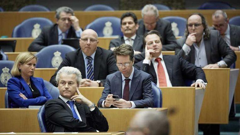 De PVV fractie in de Tweede Kamer, met Wilders als enige lid. Beeld anp