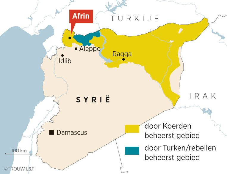De Turkse invasie van de Koerdische enclave Afrin, vlak over de Syrische grens Beeld Louman & Friso