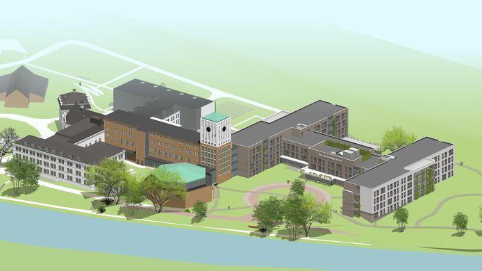 Ontwerp van de nieuwbouw van Sint Anna in Boxmeer. In Vogelvlucht.